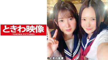 J○ Twosome Ryi & Ayumi-chan And Raw Circular Light 3P Out! A neat black-haired short-haired Lysa-chan with a medium-haired knit